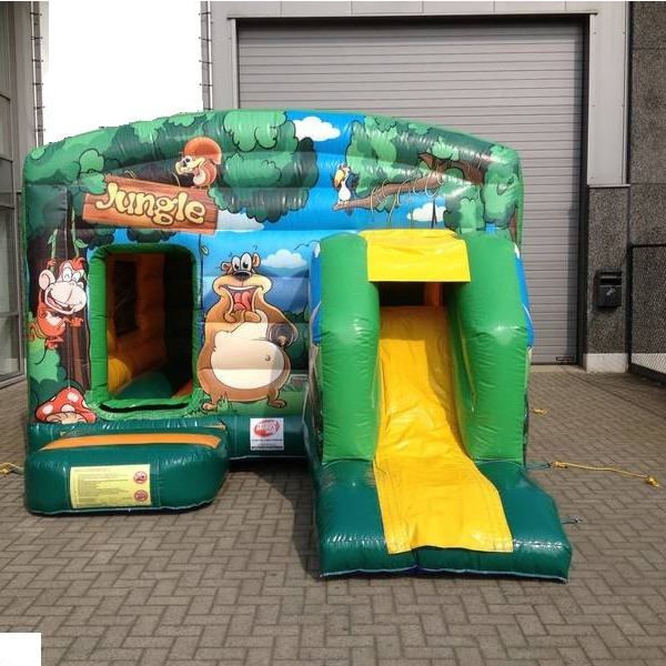 Springkasteel Jungle huisje 4x4m + slide